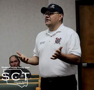 Jeremy Boyett, Joaquin Fire Department, described the newest addition to the Joaquin Fire Department of a substation.