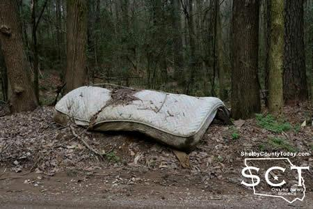 Photo taken during March of trash dumped on CR 1000. One of the county roads discussed during commissioners' court.