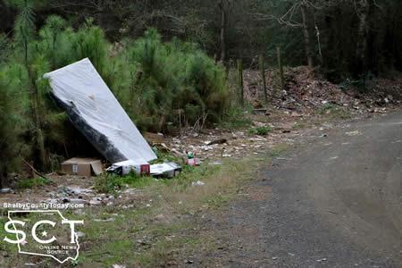 Photo taken in March of another location on CR 2020, which was cleaned up October 23, 2014 of a large quantity of garbage.