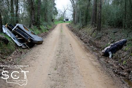 Photo taken in March of a couch dumped actually on the road of CR 2020 creating a potential road hazard.