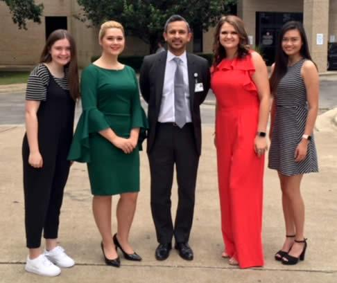 Pictured (from left) are Mikayla Whitlow - Mt. Enterprise H.S.; Rebecca Mathis -Timpson H.S.; Macey Jo Hanson - Timpson H.S.; Sharmaine Sison - Nacogdoches H.S. Phil Koovakada, NMC CEO.
