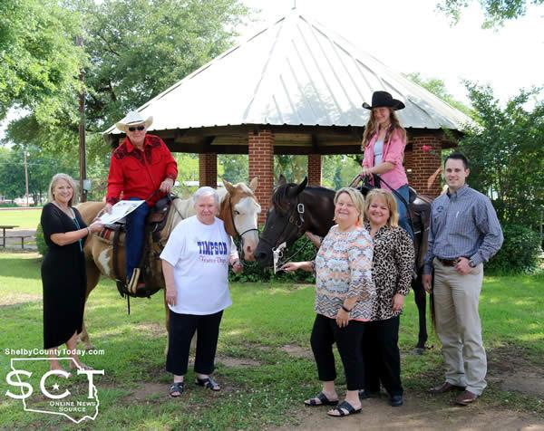 """Pictured are (from left): Misty Burgess, Timpson City Secretary; Danny Dixon on """"Pepper,"""" Marilyn Corder, Paula Mullins, Municipal Court Clerk; Donna Higginbotham, Sarah Dixon on """"Gypsy,"""" and Kyle Bridges."""