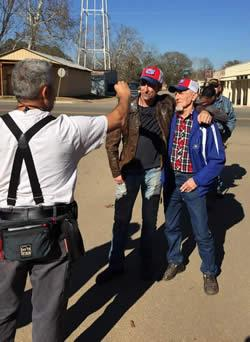 Mike Wolfe and Frank Fritz visited with many Joaquin residents during the shooting of American Pickers.