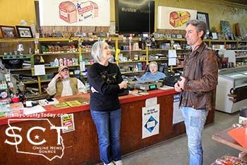 Mike Wolfe and Frank Fritz entered Worsham's Grocery in Joaquin and visited with Phil and Debra Worsham during shooting of American Pickers on Saturday, January 17, 2015.