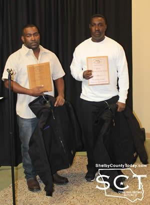 Marcus Cartwright (left) and Tommy Land (right) received the 2014 Anglers of the Year Awards during the Shelby County Bass Anglers banquet.