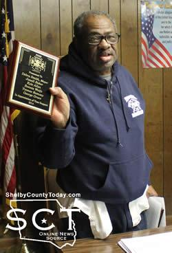 Councilman George Grace (pictured) displayed plaques of support and appreciation which were presented to the council by the Timpson Volunteer Fire Department.