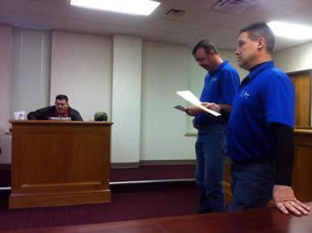 Left to right: Commissioner Bradley Allen, David Chandler, and Dale Alexander.