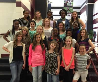 Front row (from left) Mahalia Raymond, Katie Wagstaff, Harley Eubank, Drew Henry and Courtney Page. Pictured in the second row (left to right) are Morgan Allen, Jalynn Durbin, Teambria Suell, Kamari Gray and Paige Estes. Third row (from left) are Azjha Glenn, Gracie Martinson, Hunter Collins, Paige Watson and Marneisha Rasberry. Fourth row (from left) are Kimberleigh Reed, Anna Holland, Brea Woods, Destynee Washington and Banner Warr. The Junior High Cheerleader sponsors are Carrie Jenkins and Amy Collins (not pictured).