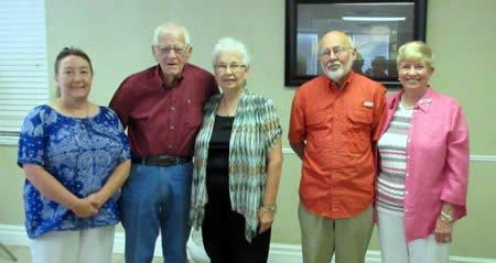 Nora Robinson, a guest, (38 years); Jim and Ann Forbes (62 years) and Mike and Linda Bordelon (50 years)