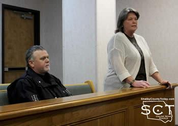 Jamie Hagler (left), Constable Precinct 2, and Marla Denby (right), Justice of the Peace Precinct 2, are seen above as Denby addressed the commissioners on Monday, January 26, 2015.