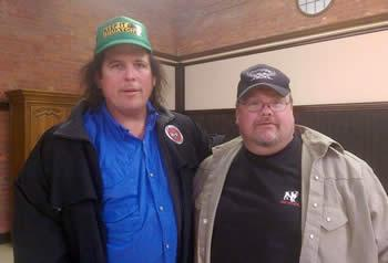 "Jeff Stewart (right), Cryptozoologist, is seen with James ""Bobo"" Fay (left) Bigfoot Investigator with the television program Finding Bigfoot."
