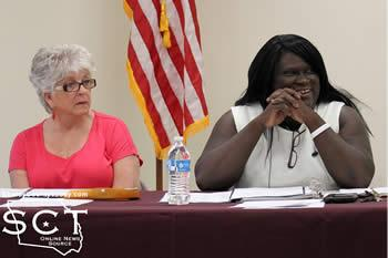 Claudine Howard, councilwoman, and Natalie Harris, Mayor Pro Tem, deliberated about the dog/cat ordinance which was up for consideration.