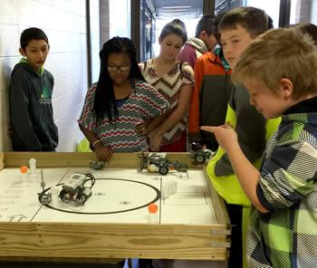 Tenaha Middle School robotics'  teams are seen preparing for upcoming meets.