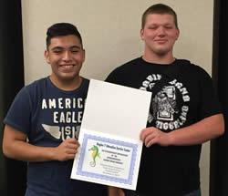 JR Wagstaff (right) and Miguel Mendoza (left) placed 5th in the High School Region VII Robotics Competition.