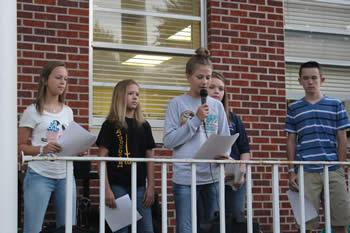 Pictured are (left to right) Caroline Scull, Kristen Orsak, Taylor Burch, Makayla Mayo, and Tyler Herndon welcomed the group and shared the background of the event.