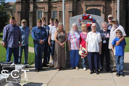 "Pictured are: (from left) Mike Langford, Post Commander; David Morris, Newton Johnson, Senior Vice Commander; Myron Bounds, Post member; Larry Hume, Post Quartermaster; Gene Hutto, Post Chaplain; Sherry Riley, Veterans Affairs Officer; Becky Yates, Auxiliary President; Linda Morris; Auxiliary member; Becky Maidic, Auxiliary member; Mary Fausett, Auxiliary Chaplain; Les Gill, Post member and his dog ""Little T""; Sean Martin, Desert Storm/Somalia Veteran; and John Austin Ford."