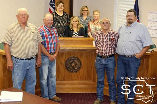 Pictured are (from left): Jimmy Lout, Commissioner Precinct; Roscoe McSwain, Commissioner Precinct 1; Sherry Harding SCOM Executive Director; Allison Harbison Shelby County Judge; Ann Blackwell, SCOM Board Member; Peggy Buddin, SCOM Board member; Travis Rodgers, Commissioner Precinct 2; Bradley Allen, Commissioner Precinct 4.