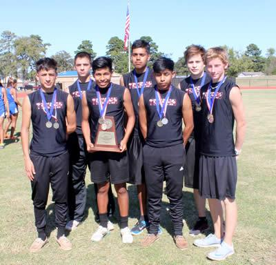 High School Boys' Cross Country front left to right: Carlos Bustamante Flores, Christian Castillo, Jordan Castillo and Tristan Keller. Back left to right- Trenton Hass, Alex Rodriguez, and Josue Vega.