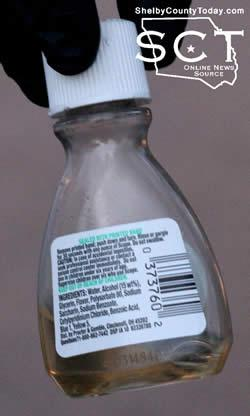 Seen above is a Scope mouthwash bottle located at the scene and suspected to contain phencyclidine (PCP).