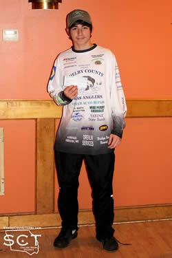 Brenden Stanley (pictured) and Coleman Davis (not pictured) each received $175 for 12th place with 5 fish weighing in at 14.00 lbs.