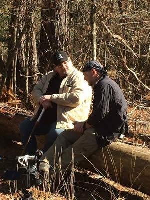 Jeff Stewart filming in East Texas with Star of Survivorman Les Stroud.