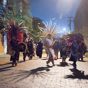 The popular Chikawa Aztec Dancers will return to Nacogdoches for the fourth annual Día de los Muertos Fiesta Saturday night, Nov. 5, in downtown Nacogdoches. Photo courtesy of Bill Nieberding