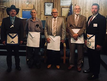 Pictured (from left), WM Larry Molloy, Joe Dillon 70-year award, Darrell Rhodes 50-year award, Harvey Tipton 50-year award, and RW Stacy Cranford DDGM District 15.