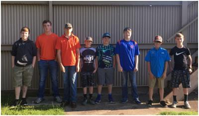 Pictured left to right:  Aiden Arwine, Logan Holloway, Colton Gutermuth, Tucker Scarber, Hagan Craig, Dawson McFadden, Colby Lout, Lance Holloway