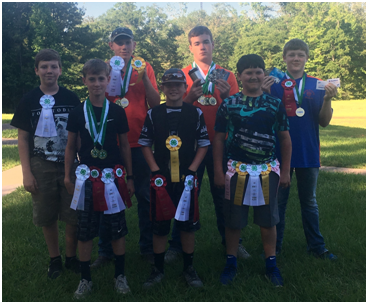 Pictured left to right, back row:  Aiden Arwine, Colton Gutermuth, Logan Holloway, Dawson McFadden, Lance Holloway, Tucker Scarber, and Hagan Craig. Not pictured:  Colby Lout