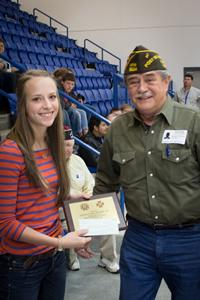Joaquin HS-4, Post Sr. Vice Newton Johnson, Jr. presented Annalyn her plaque and check.